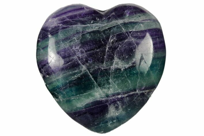 "1.6"" Polished Rainbow Fluorite Heart - Photo 1"