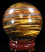 "3.2"" Polished Tiger's Eye Sphere For Sale, #37607"