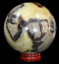 "3.3"" Polished Septarian Sphere - With Stand For Sale, #43862"