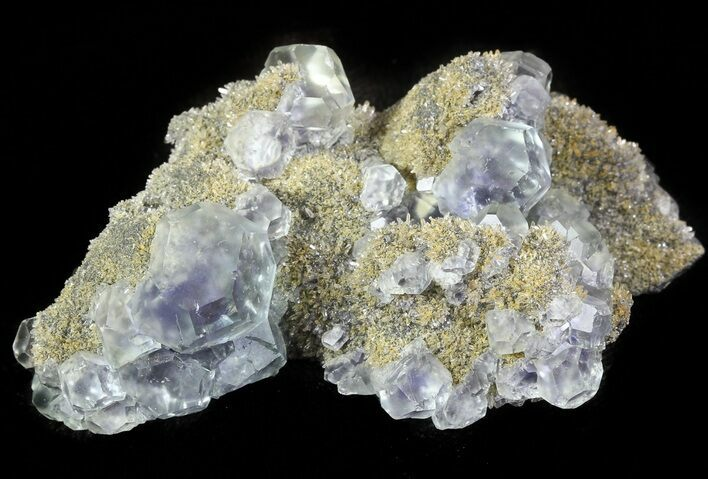 "3.1"" Blue-Green Fluorite Crystals with Quartz - China"