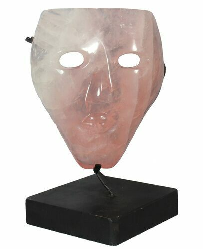 "9.1"" Polished Rose Quartz Mask On Stand - Brazil"