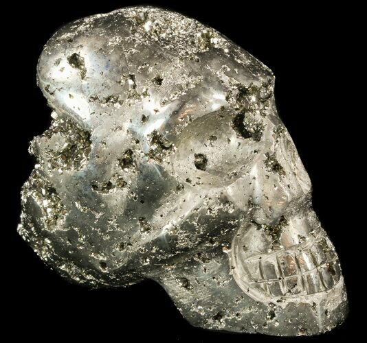 "3.5"" Polished Pyrite Skull With Pyritohedral Crystals - Peru"