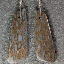Blue, Agatized Dinosaur Bone (Gembone) Earrings  For Sale, #54095