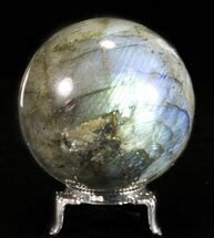"2.6"" Flashy Labradorite Sphere - With Nickel Plated Stand For Sale, #53579"