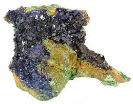 "2.2"" Azurite Crystal Cluster with Malachite - Laos For Sale, #56048"