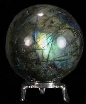 "Buy 2.7"" Flashy Labradorite Sphere - With Nickel Plated Stand - #53563"