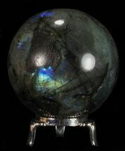 "2.55"" Flashy Labradorite Sphere - With Nickel Plated Stand For Sale, #53573"