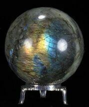"2.6"" Flashy Labradorite Sphere - With Nickel Plated Stand For Sale, #53570"