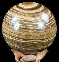 "Buy 4.4"" Polished, Banded Aragonite Sphere - Morocco - #56995"