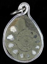 Pyrite Replaced Ammonite Fossil Pendant  For Sale, #58415