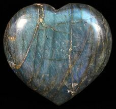 "3.3"" Flashy Polished Labradorite Heart - Brilliant Blue! For Sale, #58889"