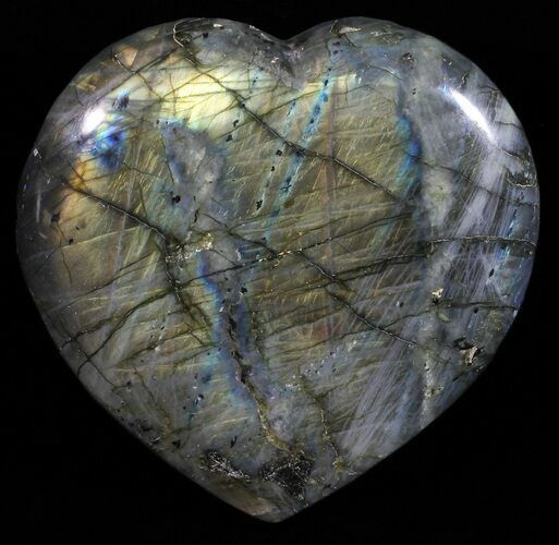 "3.9"" Flashy Polished Labradorite Heart"