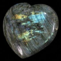 "3.5"" Flashy Polished Labradorite Heart For Sale, #58853"