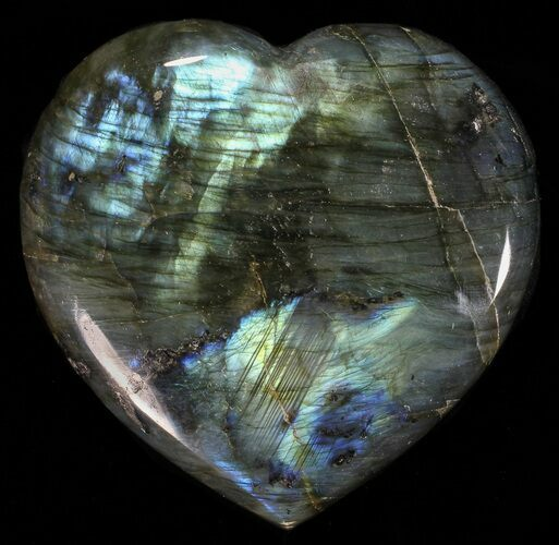 "3.45"" Flashy Polished Labradorite Heart"