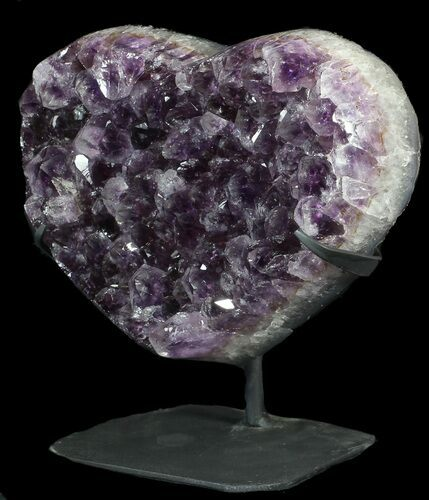 "9"" Amethyst Crystal Heart On Metal Stand - Uruguay"