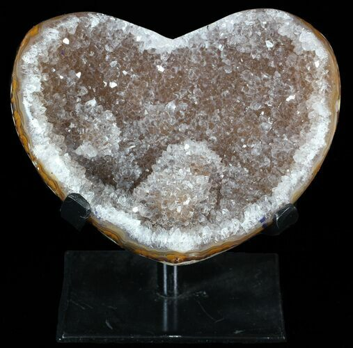 "4.4"" Agate Heart Full of Crystals - With Metal Stand"