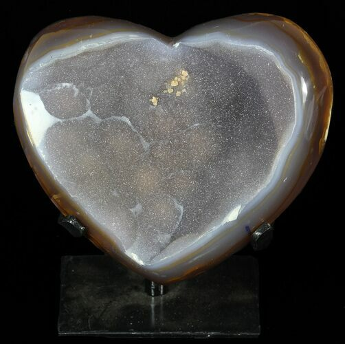"4.7"" Polished, Agate Heart Filled with Druzy Quartz - Uruguay"