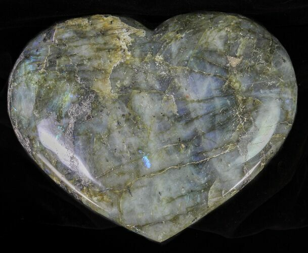 "5.3"" Flashy Polished Labradorite Heart"