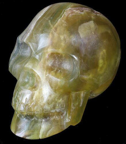 "6.7"" Carved, Yellow Fluorite Skull - Argentina"
