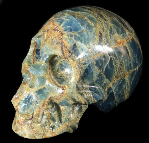"Beautiful, 5.8"" Carved, Blue Calcite Skull - Argentina"