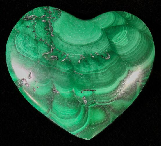".9"" Polished Malachite Heart - Congo"
