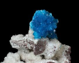 Buy Vibrant Blue Cavansite Cluster on Stilbite - India - #62875