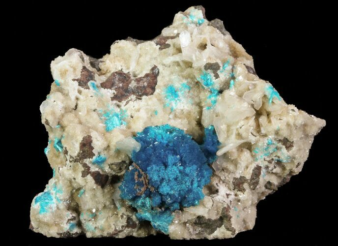 "2.9"" Vibrant Blue Cavansite Clusters on Stilbite - India"