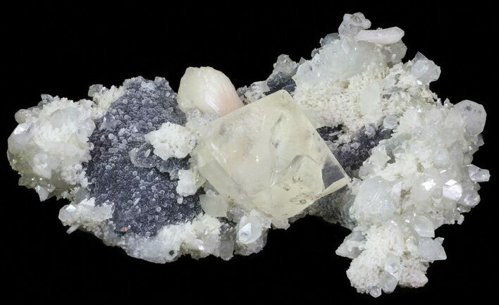 "8.8"" Stilbite, Apophyllite, Calcite and Quartz Association - India"