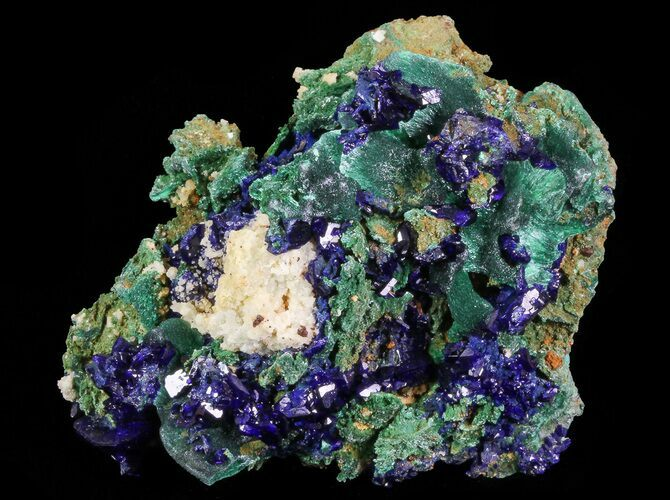 "2.3"" Sparkling Azurite Crystal Cluster with Malachite - Laos"