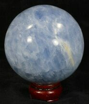 "3.61"" Polished Blue Calcite Sphere For Sale, #32129"