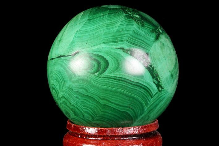 "Beautiful, 1.5"" Polished Malachite Sphere - Congo"
