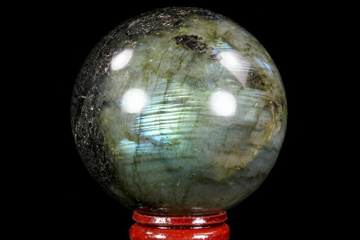 "Bargain, 2.4"" Flashy Labradorite Sphere - Great Color Play"