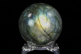 "1.4"" Flashy Labradorite Sphere - Great Color Play For Sale, #74633"