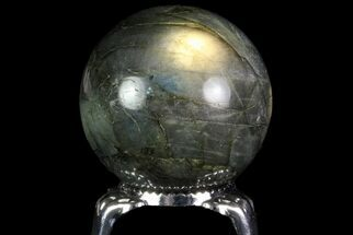"1.4"" Flashy Labradorite Sphere - Great Color Play For Sale, #74594"