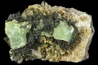 Prehnite, Quartz & Babingtonite - Fossils For Sale - #76539