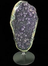 "9.4"" Tall Dark Amethyst Cluster From Uruguay - Custom Metal Stand For Sale, #76799"