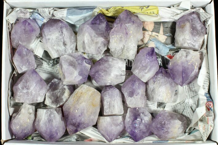 "Wholesale Box: 26 Lbs Amethyst Crystals (2-4"") - Brazil"