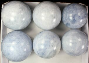 "Wholesale Lot:  Blue Calcite Spheres 5""- 6"" - 6 Pieces For Sale, #77963"