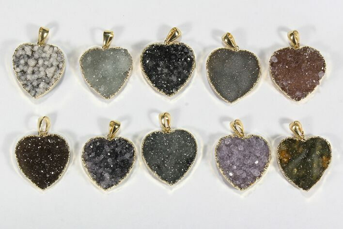 Wholesale Lot: Druzy Amethyst Heart Pendants - 10 Pieces