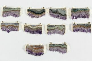 Wholesale Lot: Amethyst Slice Pendants - 10 Pieces For Sale, #78464