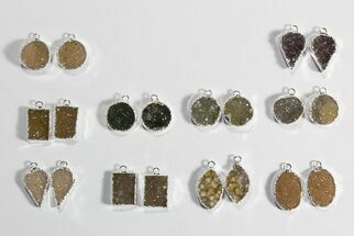 Wholesale Lot: Amethyst Slice Pendants/Earrings - 10 Pairs For Sale, #78470