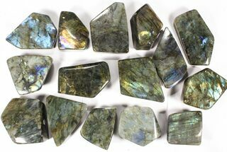 Wholesale Lot: 23 Lbs Free-Standing Polished Labradorite - 15 Pieces For Sale, #78029