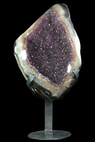 "15.4"" Sparkling Amethyst Geode From Uruguay - Metal Stand"