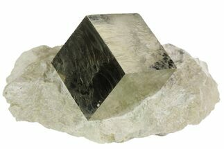 ".9"" Natural Pyrite Cube In Rock From Spain For Sale, #82106"