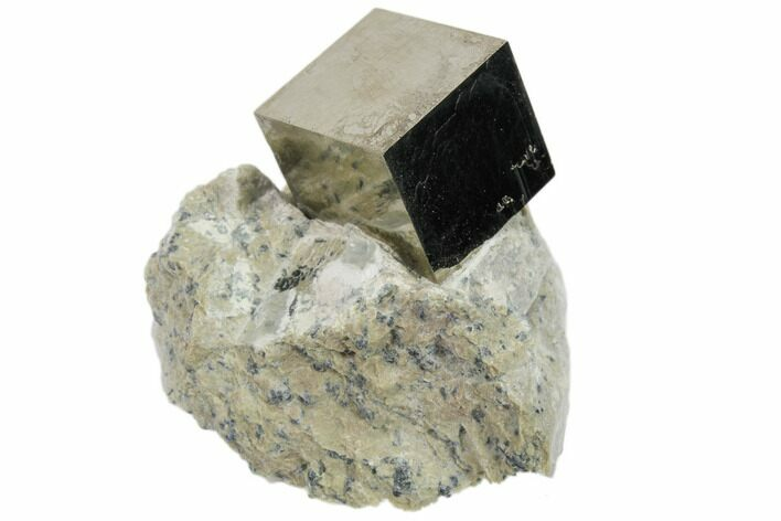 "Perfect, .8"" Natural Pyrite Cube In Rock From Spain"