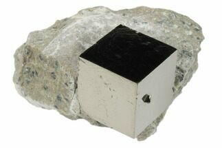".7"" Natural Pyrite Cube In Rock From Spain For Sale, #82076"