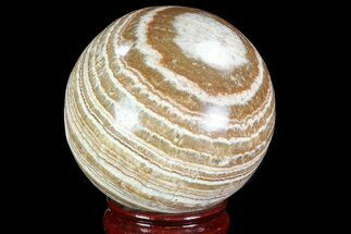 "Buy 3.4"" Polished, Banded Aragonite Sphere - Morocco - #82246"