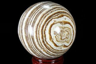 "Buy 3.7"" Polished, Banded Aragonite Sphere - Morocco - #82279"