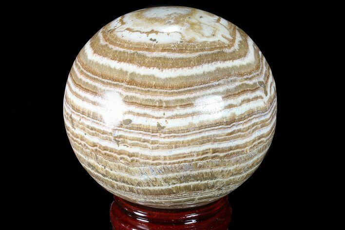 "3.5"" Polished, Banded Aragonite Sphere - Morocco"