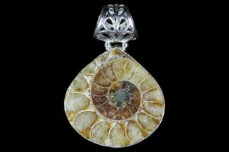 Ammonite Fossil Pendant - Sterling Silver For Sale, #82223